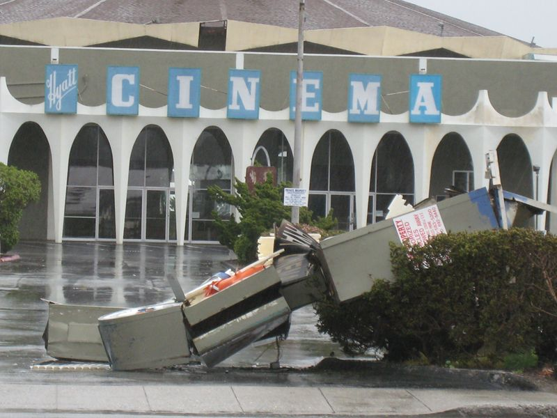 Cinema sign destroyed 2