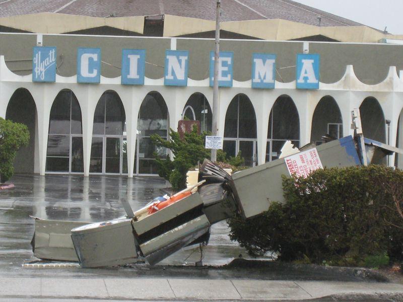 Cinema sign destroyed 2
