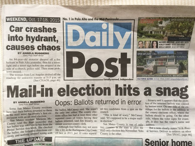 Mail in ballot snag