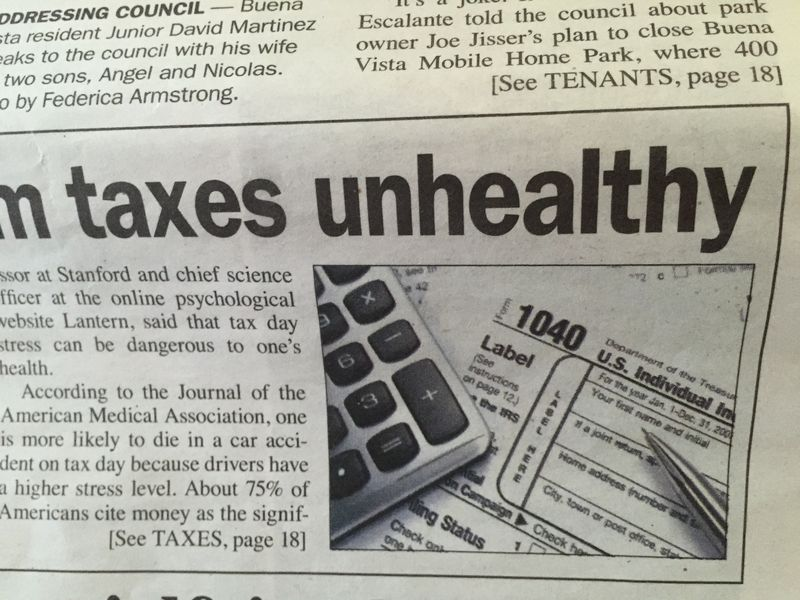 Taxes unhealthy