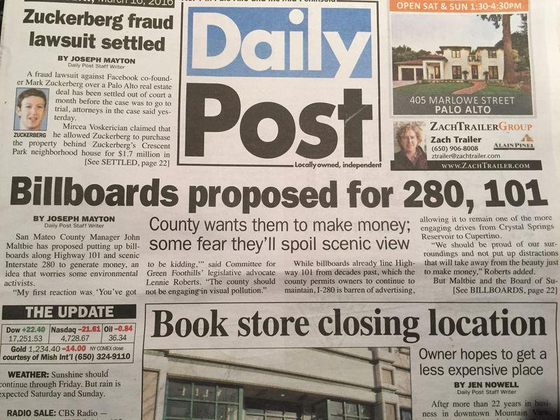 280 Billboard headline