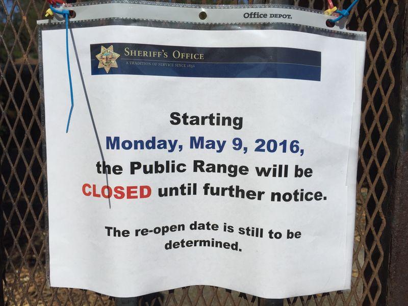 Shooting range closure sign