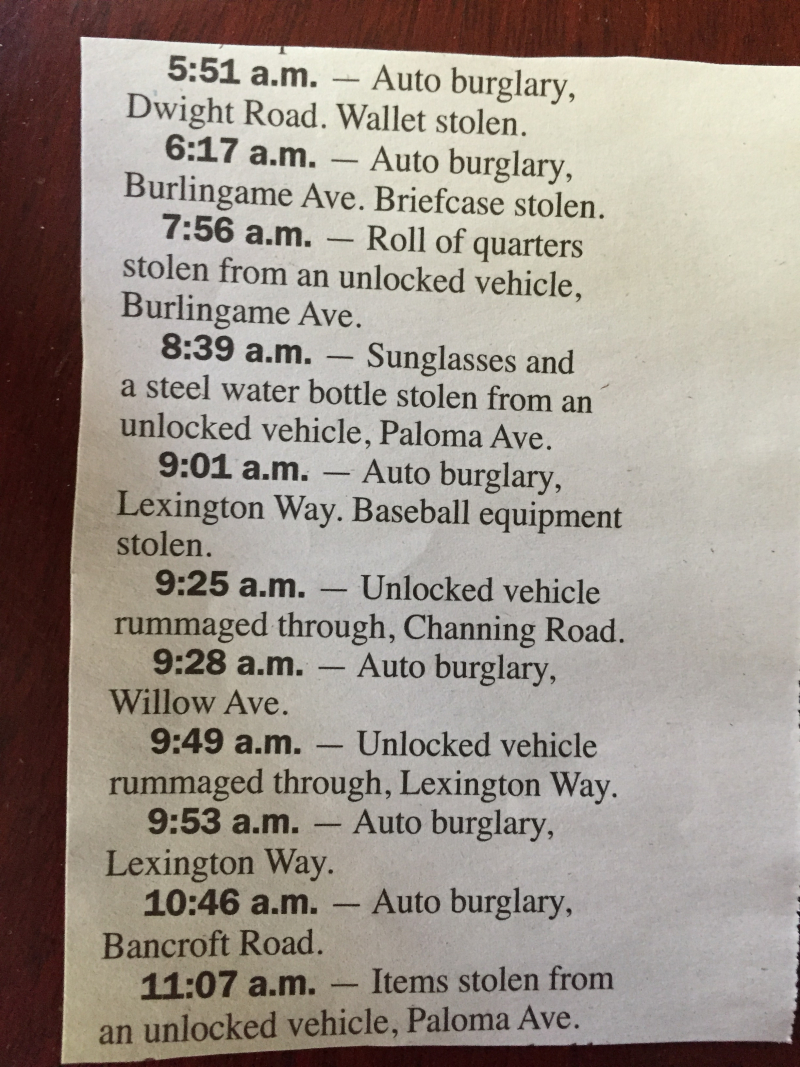 Auto burglaries all over
