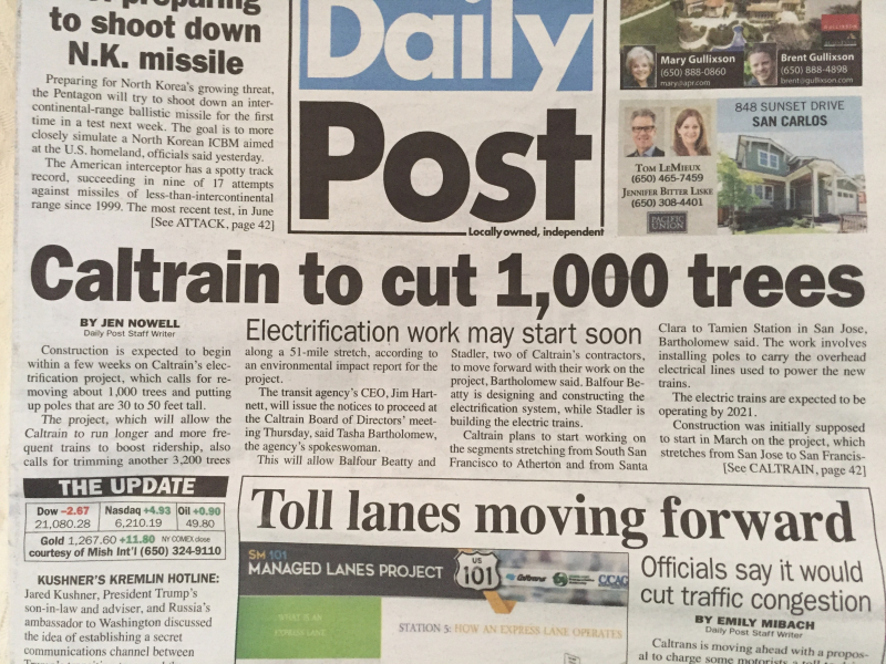 Caltrain to cut 1000 trees DP