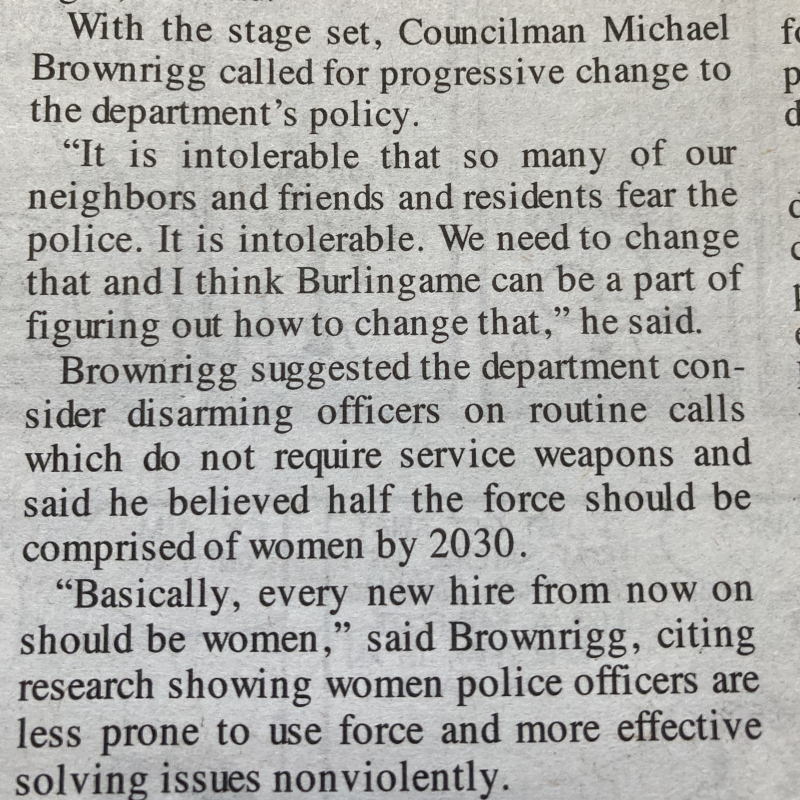 Brownrigg police hiring article